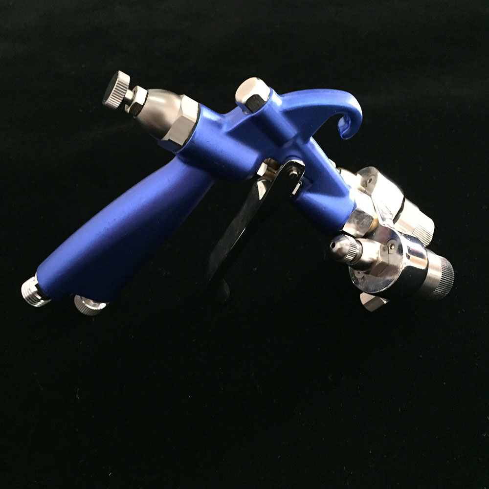SAT1201 airbrush dual action pneumatic double nozzle spray gun for painting walls pressure feed automotive car paint gun