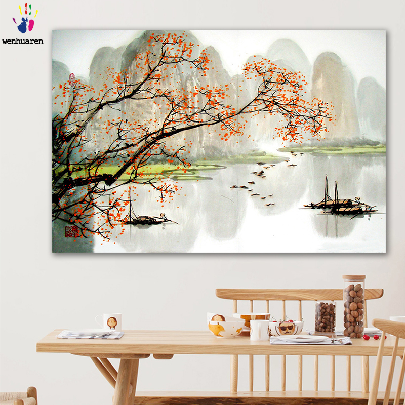 DIY colorings pictures by numbers with color Chinese landscape Ink painting picture drawing painting by numbers framed Home