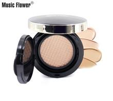 Music Flower Natural Air Cushion BB Cream Moisturizer Korean Makeup Palette Face Base Concealer Skin Bronzer Contour Set 4 Color