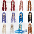 32'' long Light Blonde purple Cosplay Wigs woman Curly Wigs 80cm Pink Blue Red Yellow Green camellias wig Patrol sound Luka wig