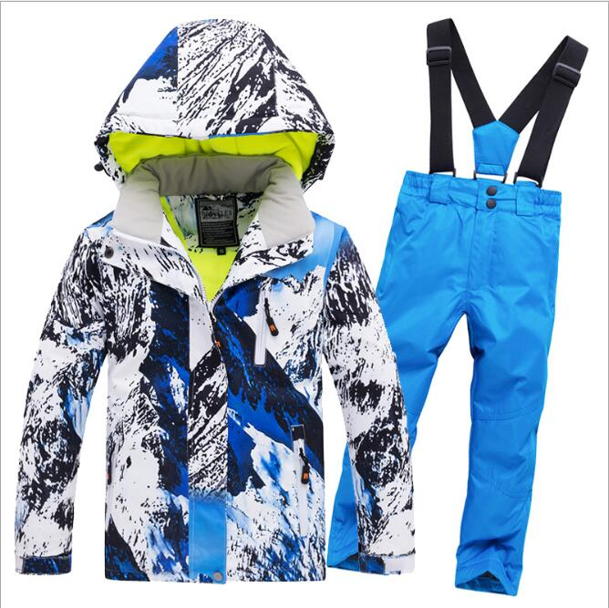 2019 Fleeced filles Ski costume imperméable enfants veste de Ski pantalons de Ski thermique garçons hiver Ski snowboard vêtements-30 degrés