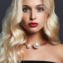 Open Pearl Choker Necklace Double Simulated For Women Luxury Party Ladies Elegant Fashion Jewelry