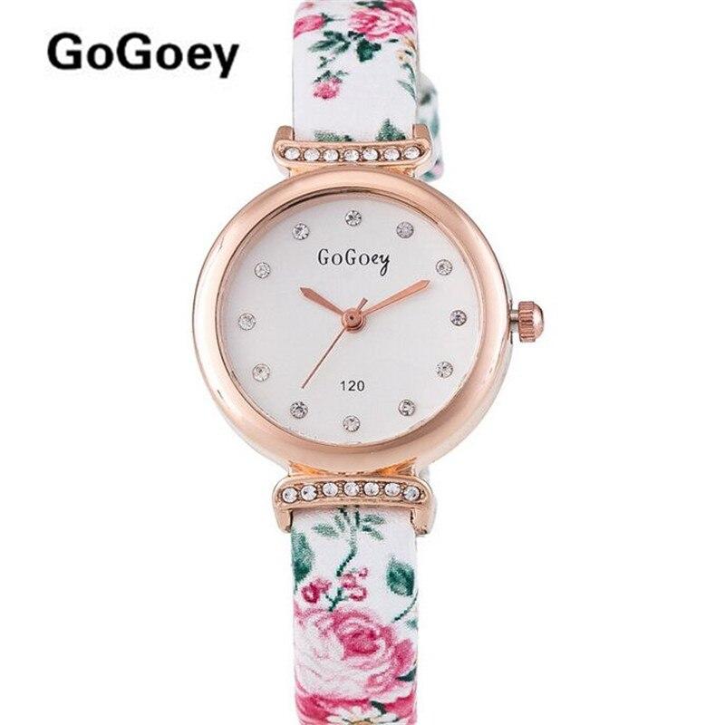 1189f2e0f127 Top Gogoey de moda de la marca de flor de diamantes de imitación reloj de mujer  reloj Casual de cuarzo mujer reloj de pulsera 120