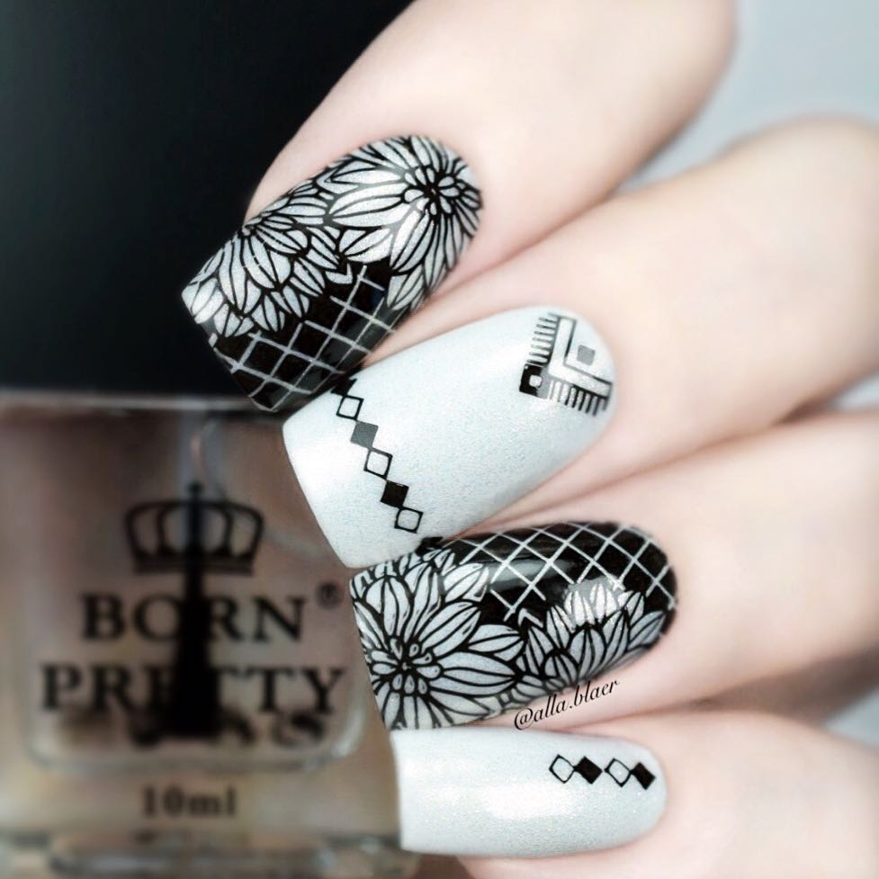 Born pretty Square Manicura sello plantilla fishnet animal helado ...