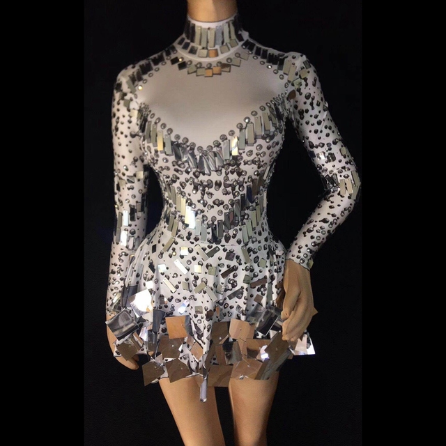 Sparkly Silver Sequins Bodysuit Dress Rhinestone Costume Women's Birthday Celebrate Party Leotard Female Performance Outfits