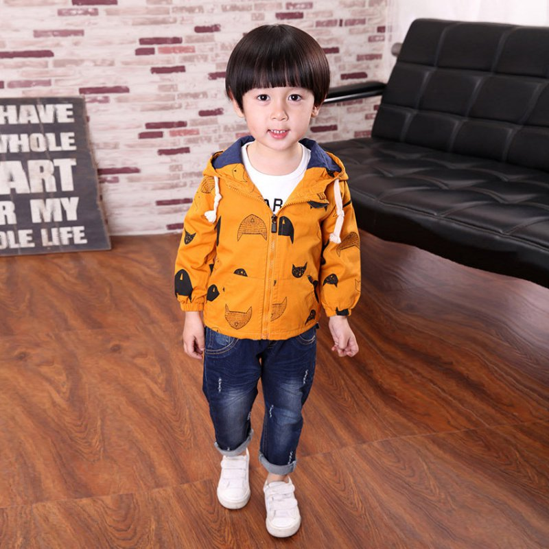 Boys Kids Autumn Winter Clothes Jacket Coat For Baby Kids Cotton Fish Print Hoodies Coat Children Boys Tops Outwear