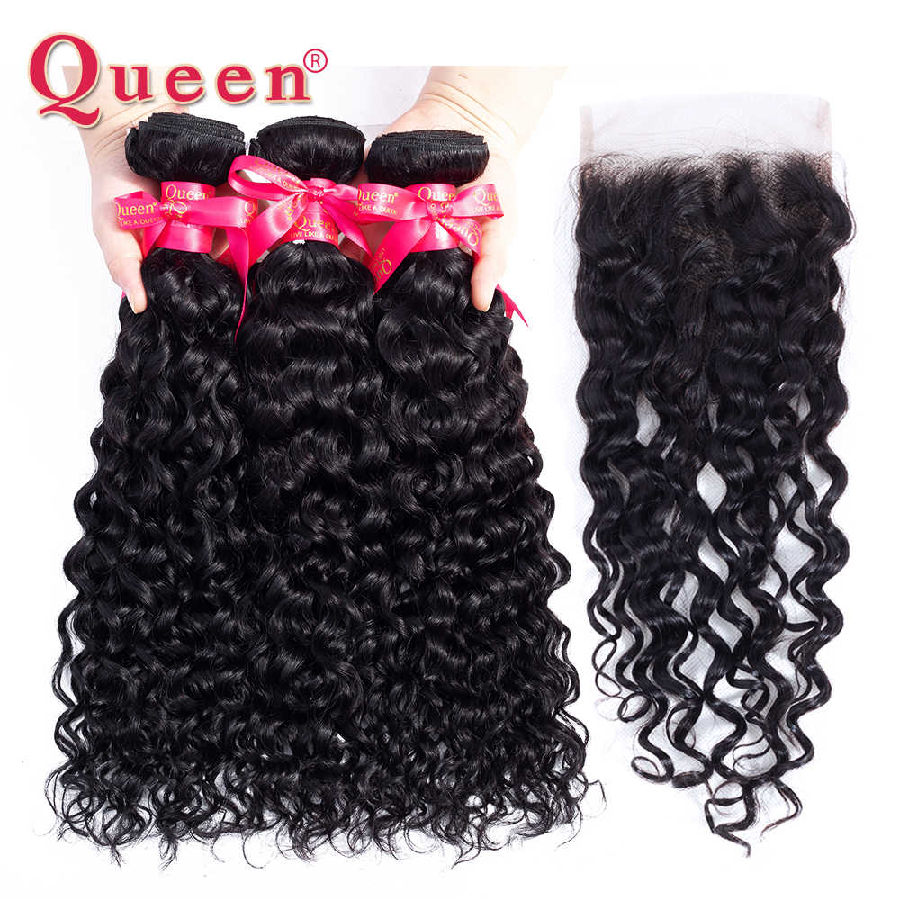 Queen Products Brazilian Water Wave Bundles With Closure Remy Human Hair 3/4 Bundles With Closure Weave Bundles With Closure