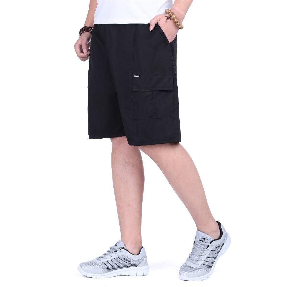 JZ CHIEF Men Cotton Shorts Solid Knee-length Straight Loose Cargo Shorts With Pockets Summer Beachwear Elastic Waist Drawstring