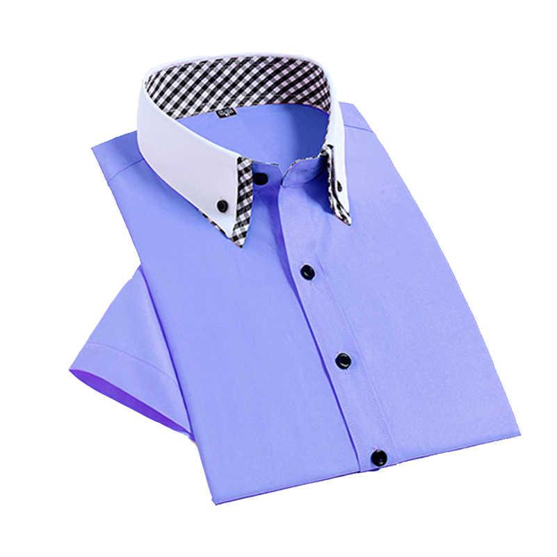 VISADA JAUNA 2019 スリムフィット半袖シャツ夏のファッションブランド無地野生シャツドレススーツビッグサイズ s-4XL N5010