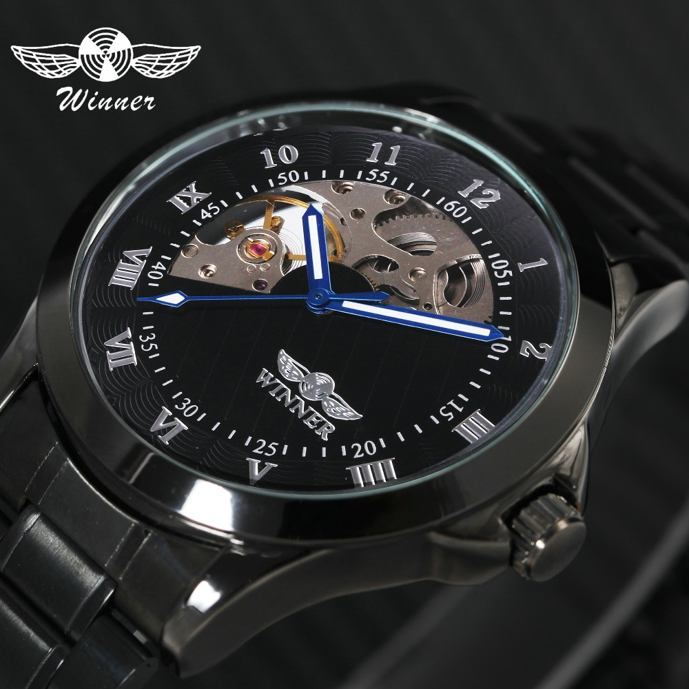 WINNER Fashion Classic Auto Mechanical Watch Men Stainless Steel Strap Roman Arabic 2 Number Half Cover Skeleton Dial Wristwatch winner men fashion black auto mechanical watch leather strap skeleton dial square shape round case unique design cool wristwatch