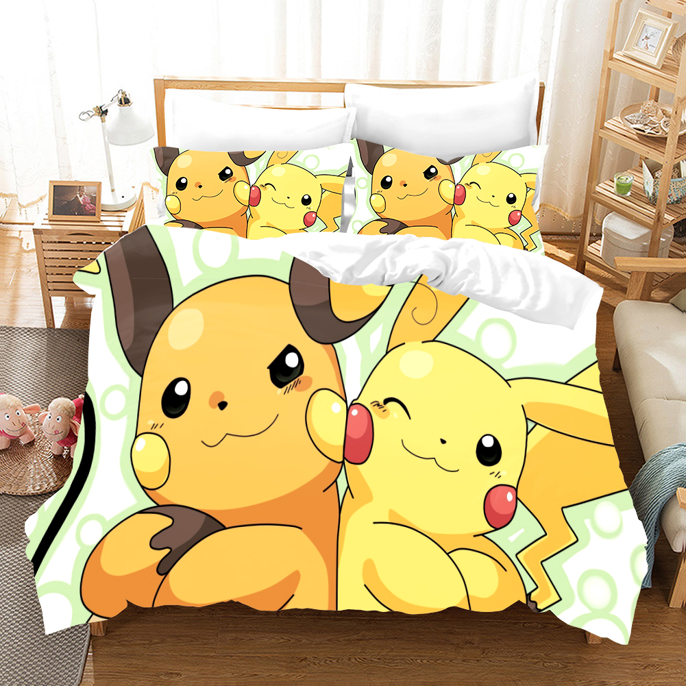 Pokemon Cartoon Anime 3d Bedding Set Duvet Covers Pillowcases Pikachu 3pcs Anime Comforter Bedding Sets Bedclothes Bed Linen