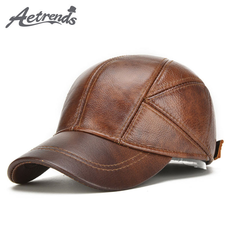7eb550064d61d  AETRENDS  2017 New Winter Hats with Ear Flaps Men s Genuine Leather Baseball  Caps Men Z-5294