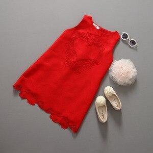 Duże dziewczynki sukienki koronkowe dzieci bez rękawów odzież w stylu europejskim i amerykańskim dziewczyny słodkie stroje serca dzieci czerwone ubrania