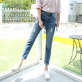 Donna New Brand Women High Waist Ripped Denim Jeans Slim Ankle-Length Casual Vintage Jeans Spring Autumn Jean Pencil Pants K265Z