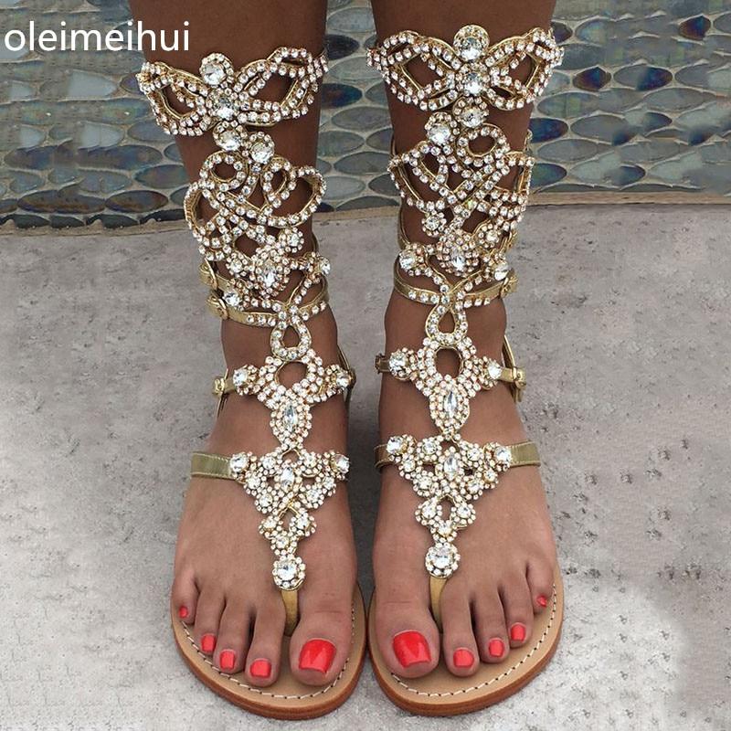 super popular sale usa online fresh styles High Quality Gold silver Rhinestone knee High Flat heel Sandals ...
