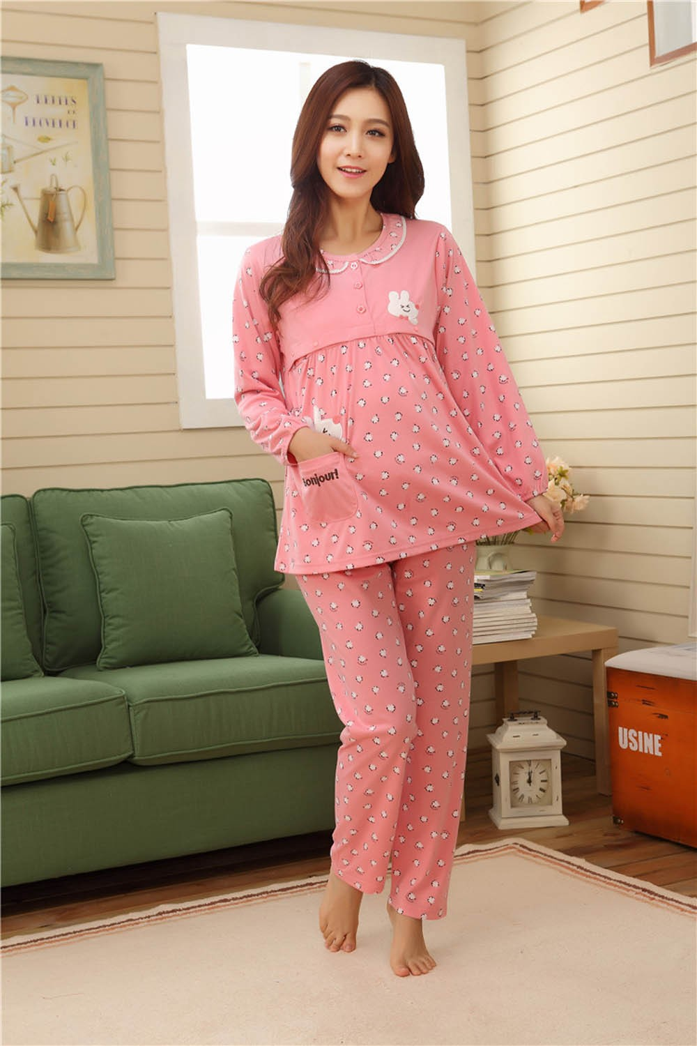 Pregnant-Woman-Pajamas-Postpartum-Breastfeeding-Month-Of-Serving-Lapel-Clothes-Long-sleeve-Sleepwear-Suits-CL0800 (11)