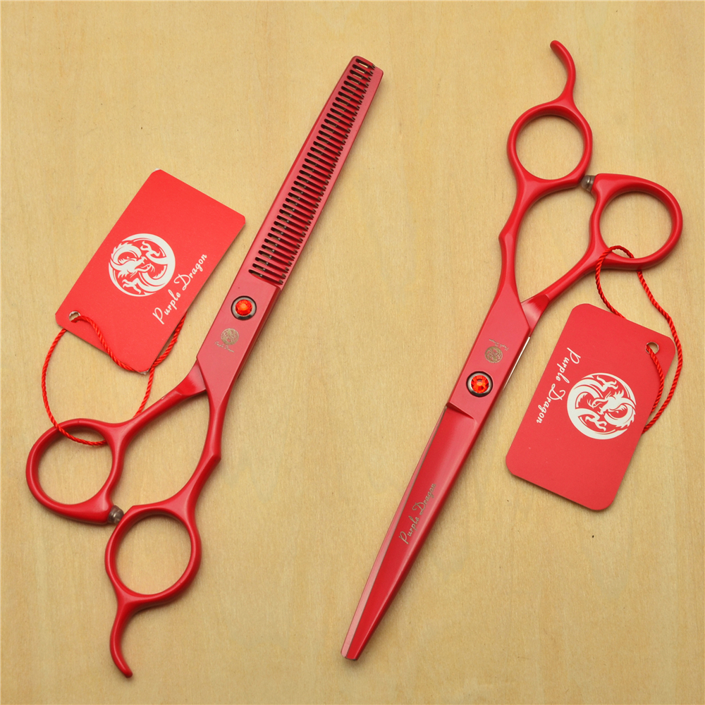 6.5 Inch 18.5cm Red Colour JP 440C Professional Human Hair Scissors Hairdressing Scissor ...
