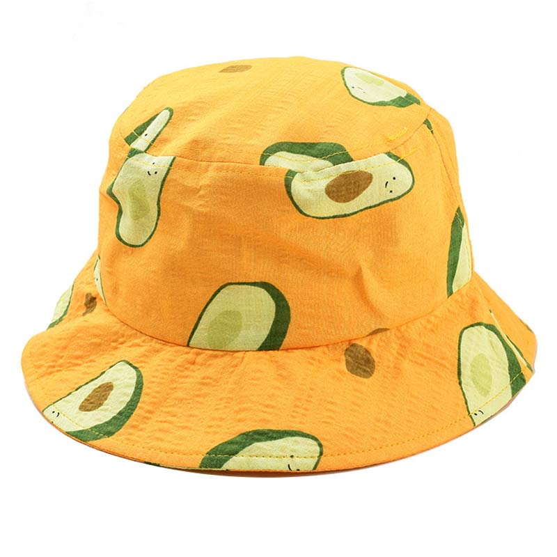 Summer 2-5yrs Children Bucket Hats Boy Girl Fruit Avocado Sun Hat Yellow White Navy Size 52cm
