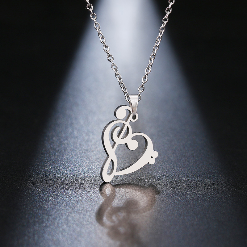 HTB17 PCaDHuK1RkSndVq6xVwpXar - DOTIFI Stainless Steel Necklace Music Symbol Heart Of Treble And Bass Clefs Infinity Love Charm Pendant Necklaces Unisex Jewelry