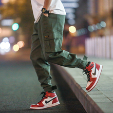 2019 babie lato spodnie bawełniane męskie spodnie Cargo wielu kieszeń w pasie spodnie haremki Hip Hop spodnie typu casual biegaczy męskie M-5XL tanie tanio ESLITE HYUN Mężczyźni Pełnej długości Cargo pants Na co dzień REGULAR Poliester COTTON Midweight Mieszkanie Suknem