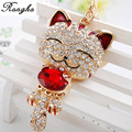 Lucky Smile Cat Crystal  Keyrings Key Chains Holder Purse Bag For Car christmas Gift Gold rhinestone Keychains Jewelry llaveros