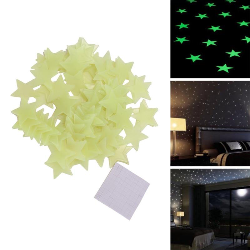 100pcs Luminous Star Stickers Grow In Dark Wall Stickers For Kids