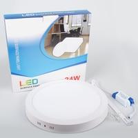 Wholesale 18W/24W Round Led Panel Light AC85 265V Surface Mounted LED Ceiling Downlight for Bathroom 90/120 PCS lampada led Lamp