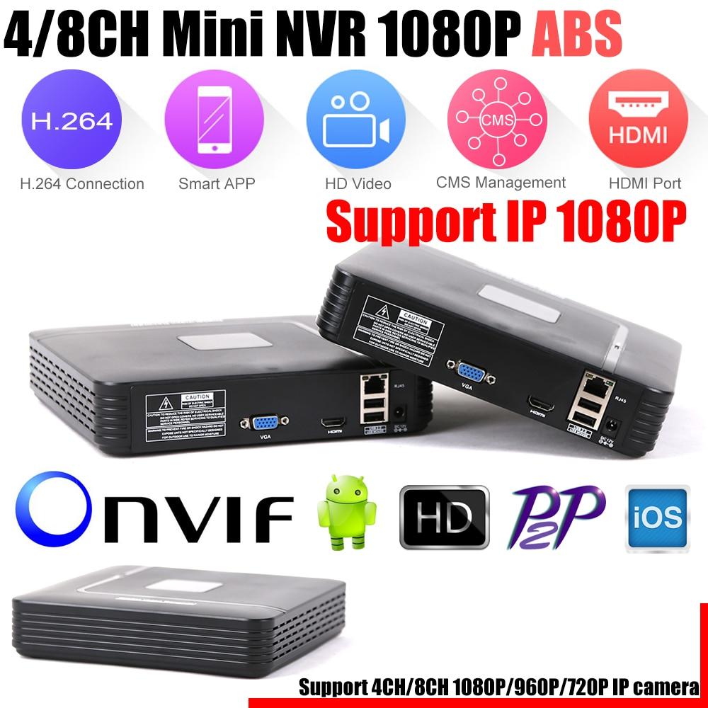 Mini NVR Full HD 4CH 8Ch H 264 Standalone CCTV DVR Recorder Onvif 2 3 For