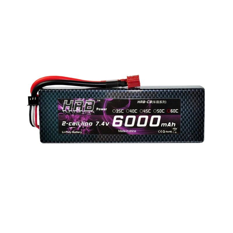 HRB Lipo batterie 2S 7.4V 6000mAh 60C XT60 T Deans TRX EC5 XT90 RC pièces étui rigide pour Traxxas avions voitures bateaux 4x4 1/8 1/10