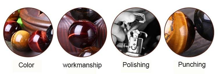 JoursNeige Natural Color Tiger Eye Stone Bracelet 12-mm Beads Crystal Bracelet for Men Women Lucky Bracelet Jewelry 2