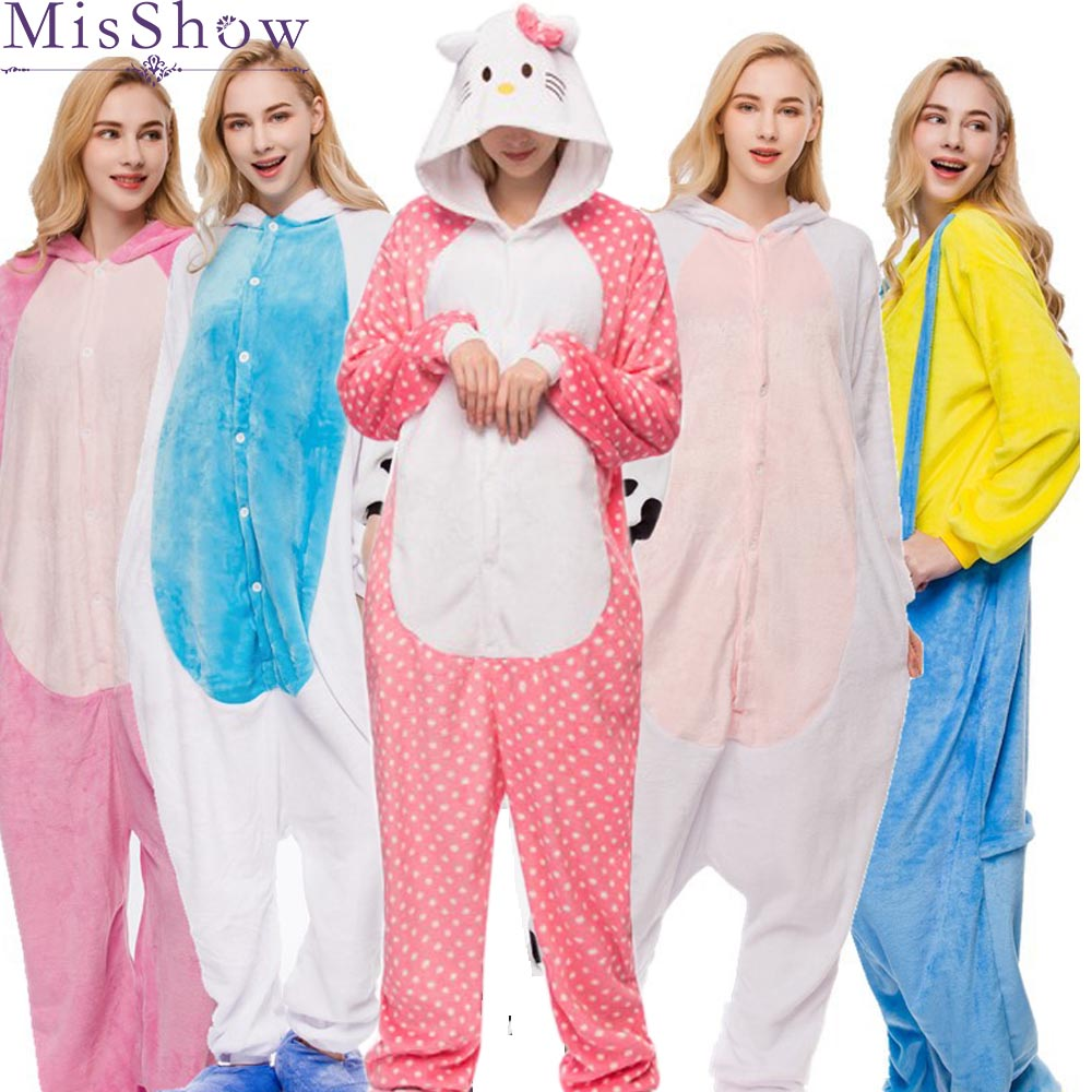 2019 Autumn Winter unicorn Pajama Sets Cartoon Sleepwear Women Warm Flannel Animal zebra Stitch Unicorn kigurumi
