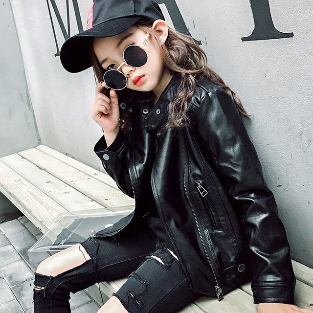23e47b31721f Korean Girls Leather Jackets 2018 New Spring Girls Coat New Fashon ...