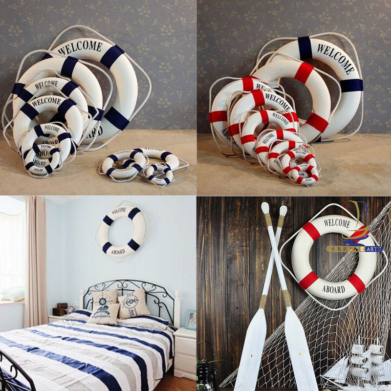 Studio Props Wall Hanging Fashion Hand Made Nautical Home Decor Life Buoy Crafts Living Room Decoration