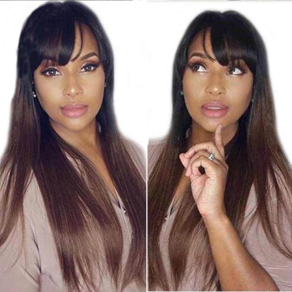 SimBeauty Lace Front Human Hair Wigs With Bangs 1B30 Ombre Straight 130 Density Peruvian Remy Hair Natural Hairline Fringe Wig