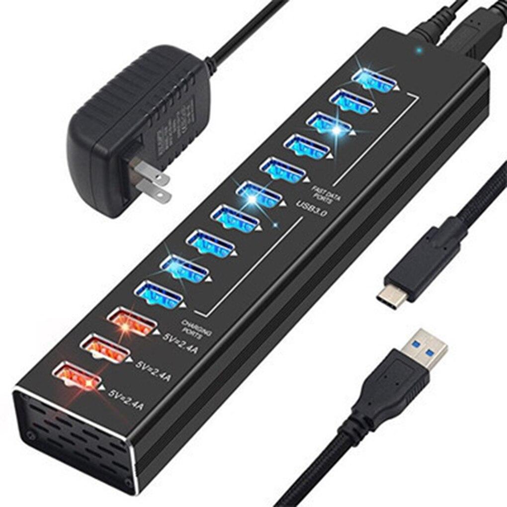 Moyeu USB 3.0 chargeur haute vitesse Multi USB séparateur 5 V 2.4A chargeur rapide adaptateur secteur PC USB C moyeu US prise