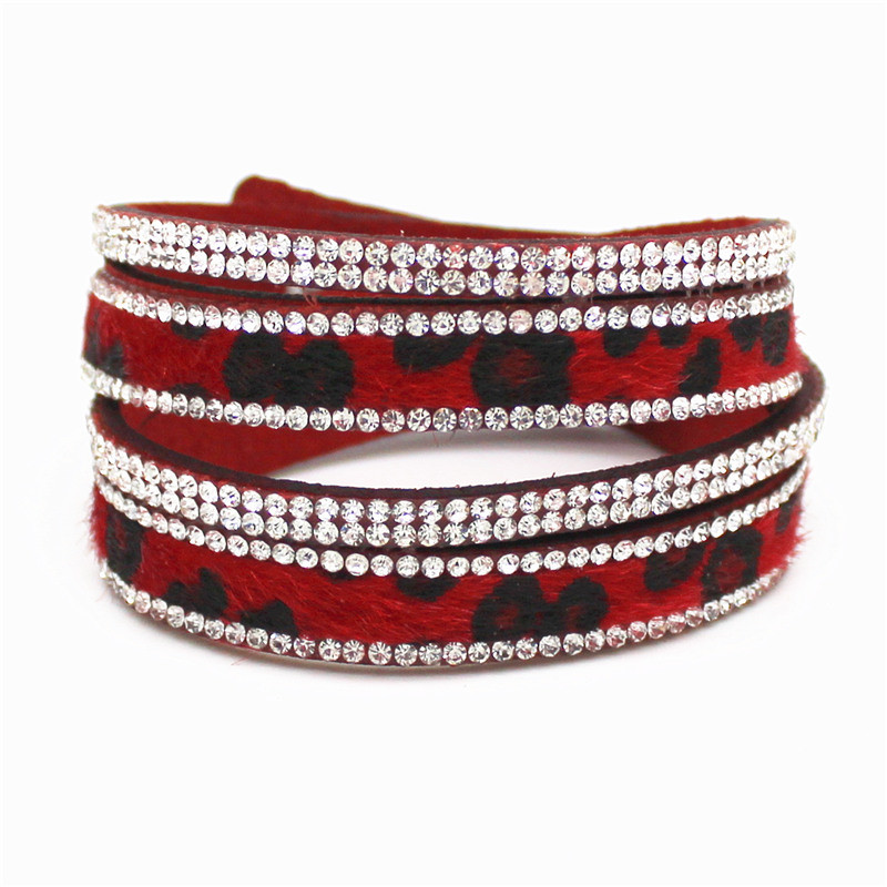 New Arrived Sexy Leopard Bling Rhinestone Double Wrap Bracelet For Women Leather Wrap Bracelet Wristband Crystal Charms Chokers 7