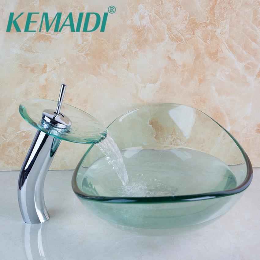 KEMAIDI Basin Faucet Transparent Bathroom Artistic Tempered Glass Vessel Vanity Hand Print Color Sink Bowl Mixer Set W/DrainKEMAIDI Basin Faucet Transparent Bathroom Artistic Tempered Glass Vessel Vanity Hand Print Color Sink Bowl Mixer Set W/Drain