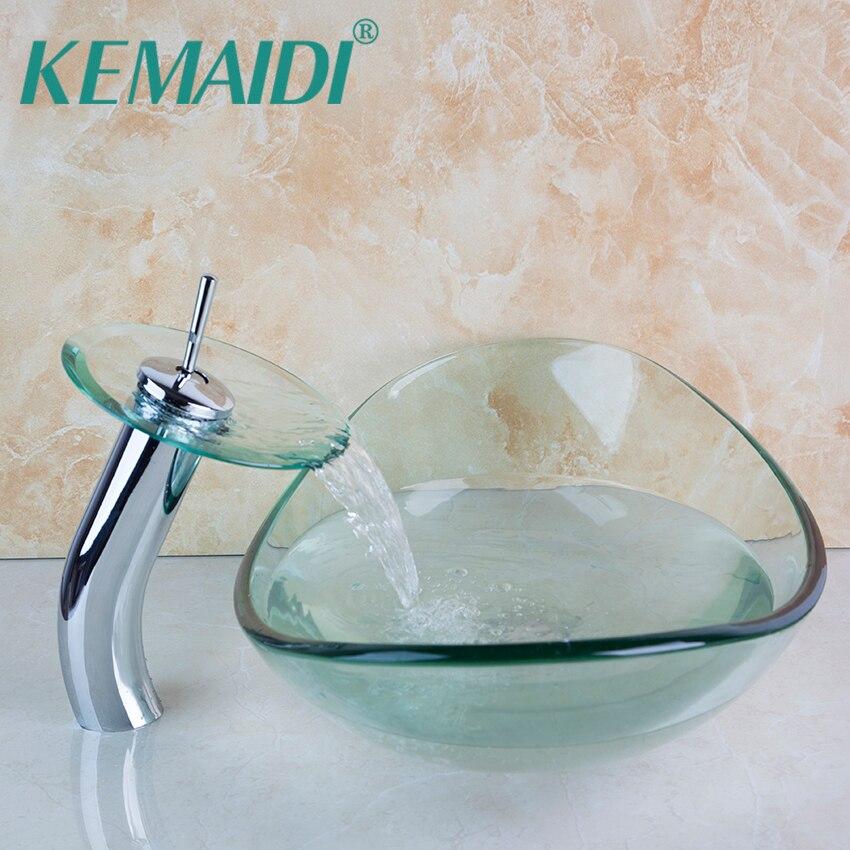 KEMAIDI Basin Faucet Transparent Bathroom Artistic Tempered Glass Vessel Vanity Hand Print Color Sink Bowl Mixer Set W/Drain