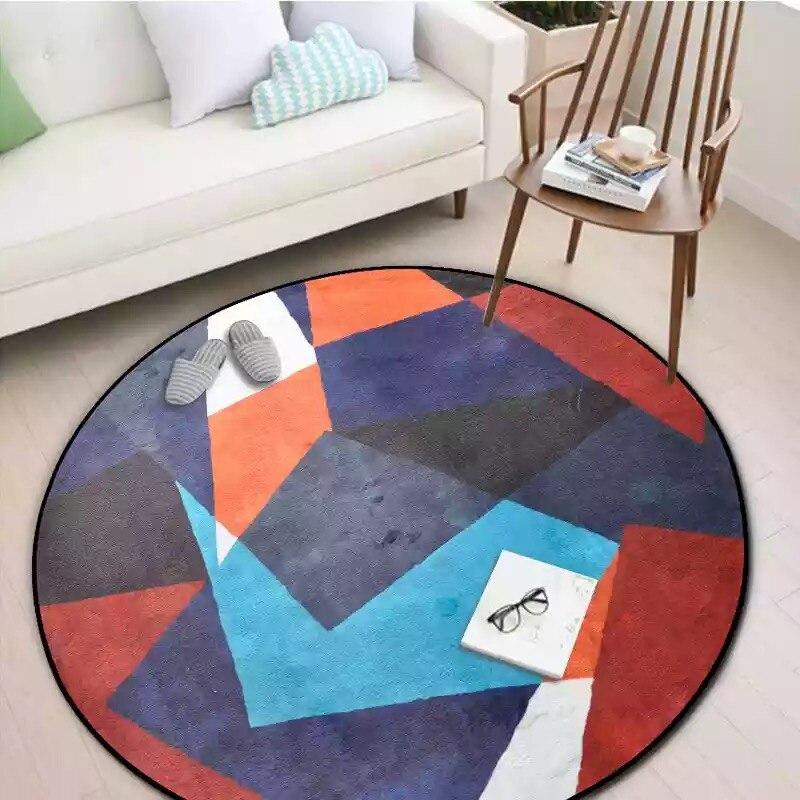 Круглые комбинированные ковры для спальни, мягкие фланелевые ковры для гостиной, Обюссон, ковры с геометрическим дизайном, европейские цветные круглые ковры - Цвет: ZZM3300