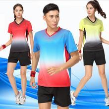Женский мужской костюм из футболки и шорт, Мужская теннисная рубашка, женский спортивный костюм для пинг-понга, быстросохнущая теннисная футболка, комплект одежды для поезда