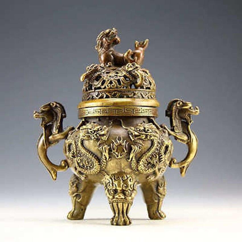 Chinese Antique bronze Crane Dragon Incense burner Xuande mark