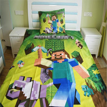 Home Textile Bedding Set Cartoon Polyester Minecraft Bed Linen for Kids Boys Girls Gift Duvet Cover Flat Sheet Pillowcases2/3PCS