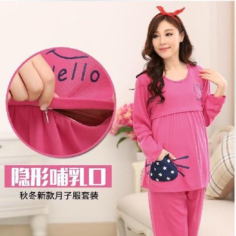 2016 Broadcloth Full Limited Hot Sale Cute Little Confined Suits Autumn Lactation Pure Cotton Feeding Suit Nightwear Wholesale