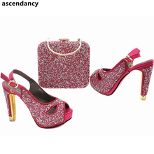 Italian Shoes Matching Fuchsia-Color African Women Latest And Bag-Set