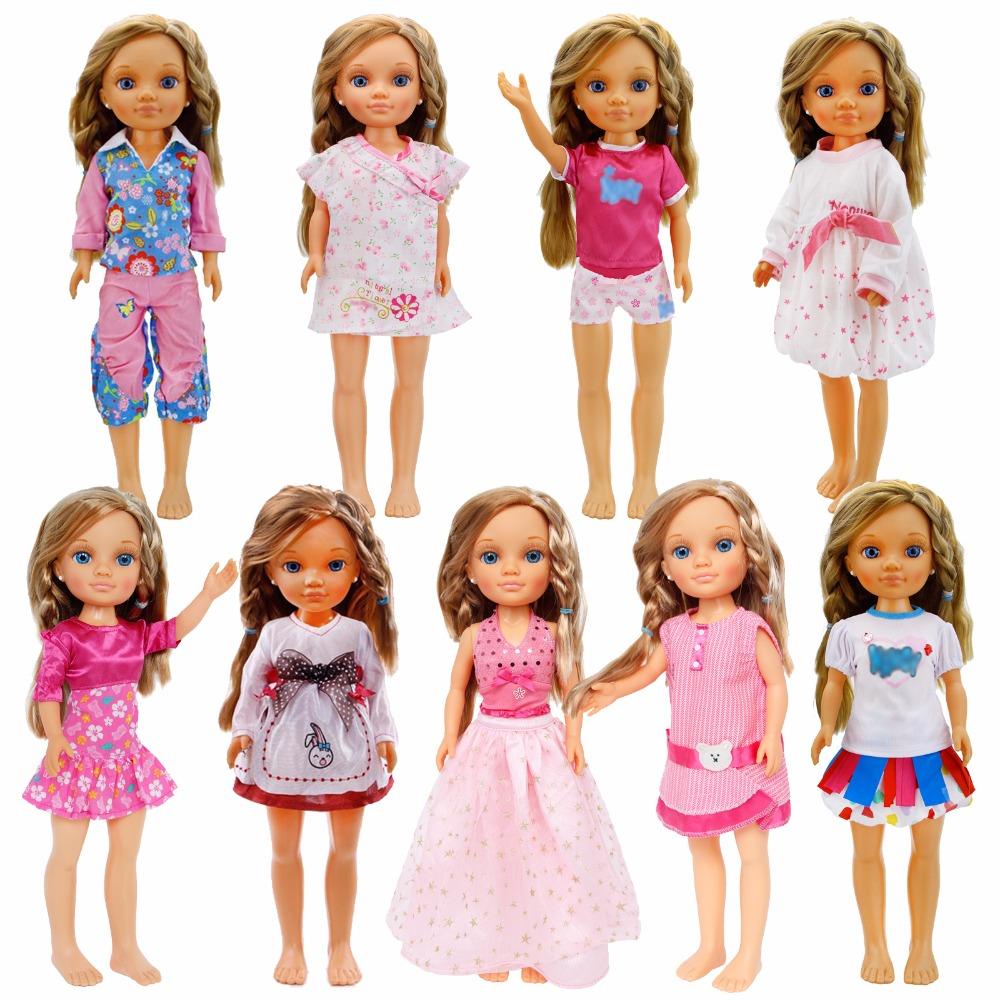 Fashion Colorful Dress Mixed Style Daily Casual Wear Blouse Skirt Accessories Clothes For Nancy Doll 16