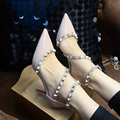 Sexy Black/White Heels 6cm Pointed Toe Rivets Valentine Shoes Ladies Shoes And Bags To Match Set New Style Ankle Strap Heels