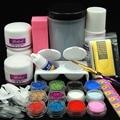 2016 3 Color Acrylic Powder Set with 75ml Liquid Nail Glitter False Nail Tip Nail Brush Holder Pink Buffer Tools Set