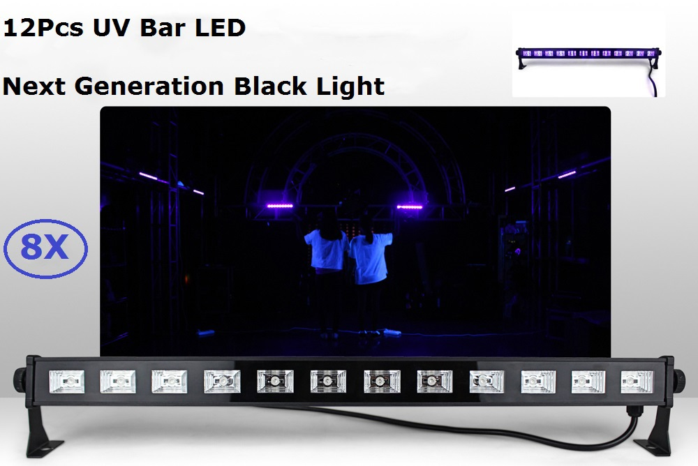 8Pack UV Stage Light Violet Led Bar Laser Projection Lighting Party Club Disco Light For Christmas Indoor Stage Effect Lights hot sell 10 unit black light stage uv light uv lamp e40 400w hqv400 laser dancing hand shadow dance for theater party concert