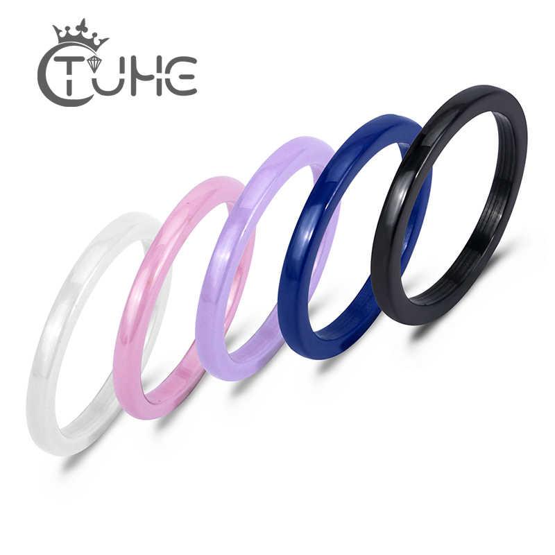 カラフルな 2 ミリメートルセラミックリング女性のためのピンク黒青、白、紫リングエレガントな最高品質の婚約宝石類のギフト