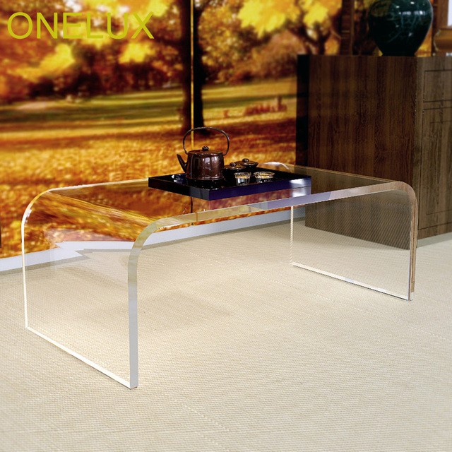 living room waterfall furniture small remodel ideas acrylic u table lucite coffee tea occasional tables 2 size options